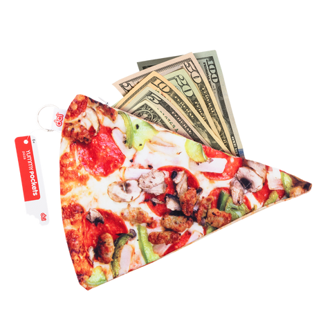 yummypocket pizza with dollar bills facing front