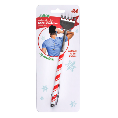 snowflakes designed handle holiday extendable back scratcher attached on its dci cardboard
