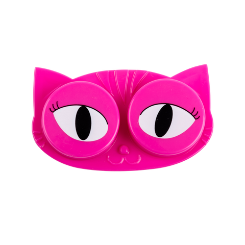 pink cat eyes contact lens case facing front