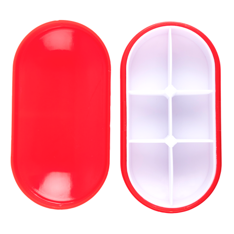 an open red pill box capsule with 6 parts