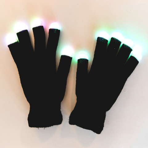 one pair black gloves with glowing led fingertips positioned upward
