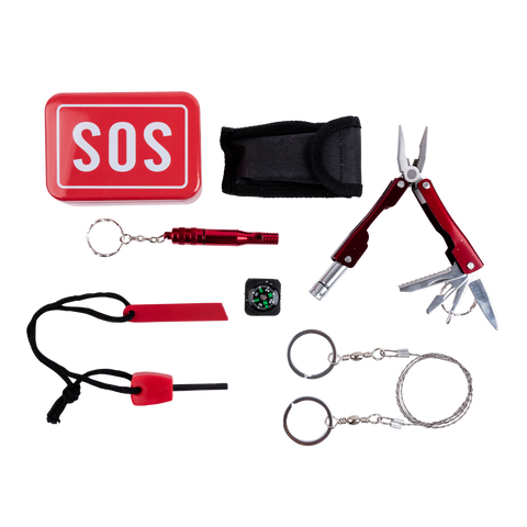 mini compass, wire saw, whistle, fire starter, whistle, multi-tool with flashlight and sos case