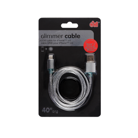 silver glimmer iphone usb cable packaging