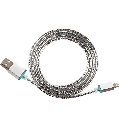 silver glimmer usb cable for iphone