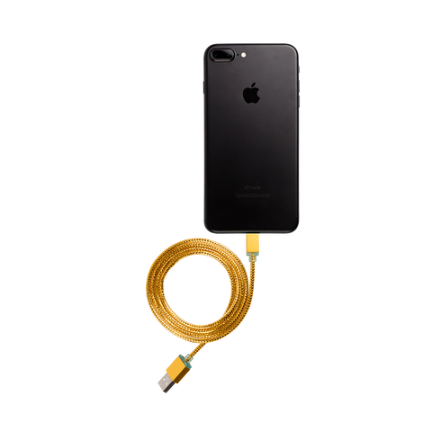 gold glimmer iphone usb cable connected to iphone