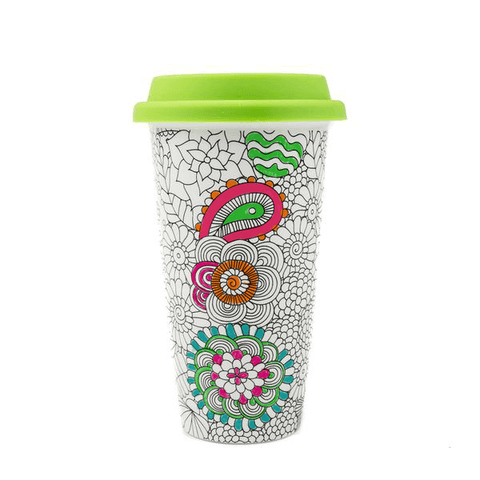 ceramic coloring mug for adults with flower designs