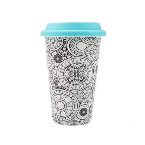 ceramic coloring travel mug with closed lid