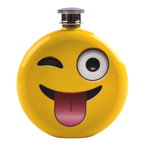 front view of emoji flask