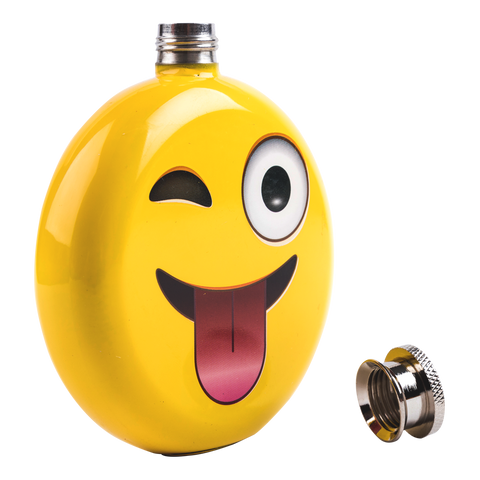 opened emoji flask positioned diagonally with its cover on the floor