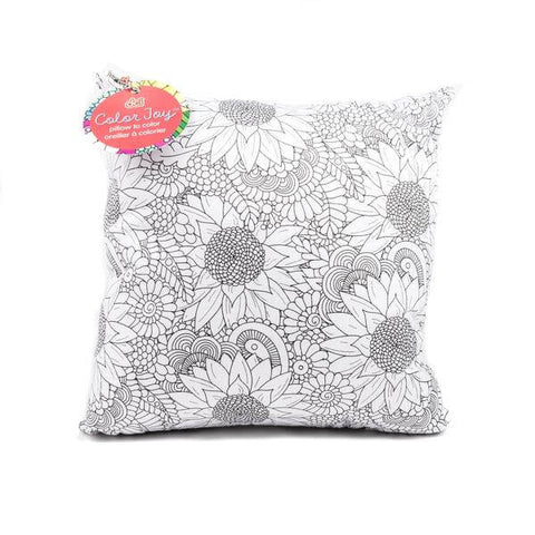 color joy flowers coloring pillow