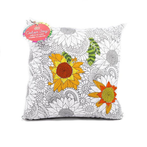 coloring pillow with flower designs