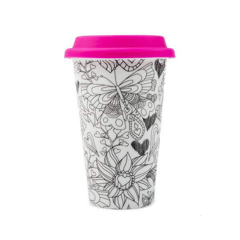 Hearts IANAPC coloring mug with flexible lid
