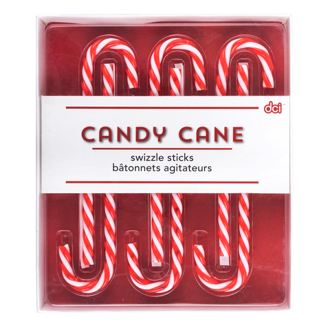 six candy cane drink stirrers inside its packaging