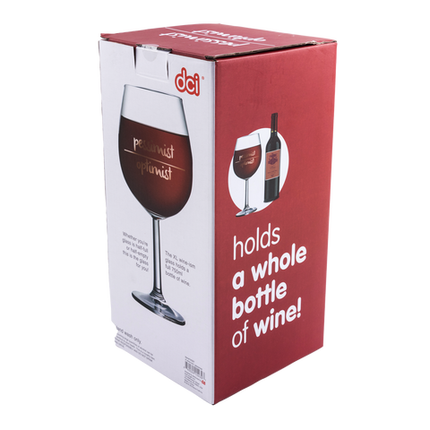 xl wine-ism pessimist/ optimist wine glass packaging