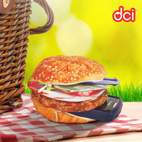 yummypocket hamburger with mobile phone, money and pen inserted
