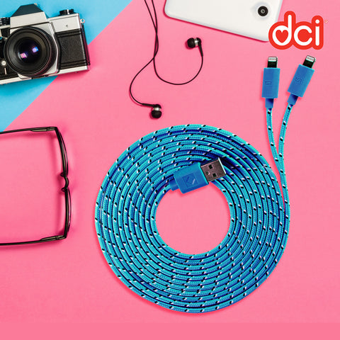 blue 2 in 1 iphone cable combo surrounded by eyeglass, camera, earphone and tablet