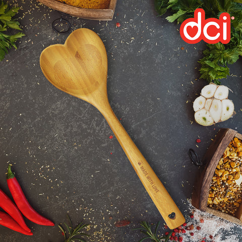 brown heart shaped bamboo spoon