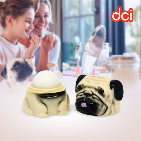 open pug lip gloss with background of mother and daughter applying lip gloss facing the mirror