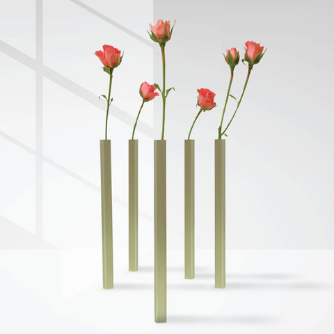 five magnetic flower vase with pink rose each