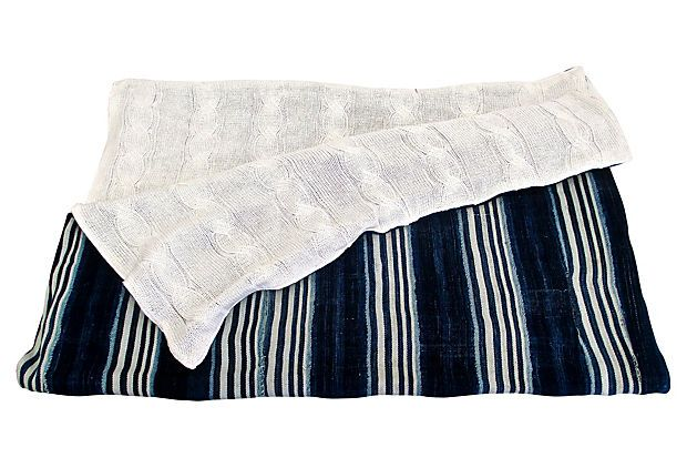 Fragments Identity - African Vintage Indigo and cable knit throw