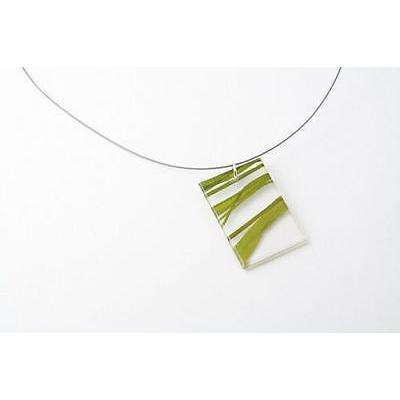 dConstruct Eco-Friendly Recycled Resin Handmade SEAWEED Green/Clear Necklace