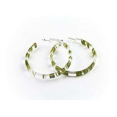 dConstruct Eco-Friendly Recycled Resin Handmade SEAWEED Green/Clear Hoop Earrings