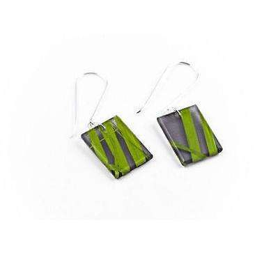 dConstruct Eco-Friendly Recycled Resin Handmade SEAWEED Green/Black Drop Earrings