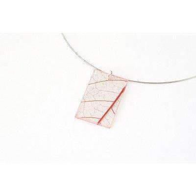 dConstruct Eco-Friendly Recycled Resin Handmade FOSSIL LEAF RED Jewelery