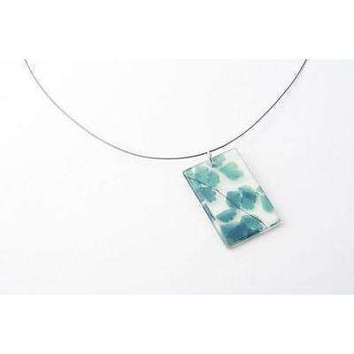 "dConstruct Eco-Friendly Recycled Resin MAIDENHAIR Blue/Green 18"" Necklace 1"