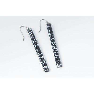 dConstruct Eco-Friendly Recycled Resin Handmade COURIER BLACK Skinny Earrings