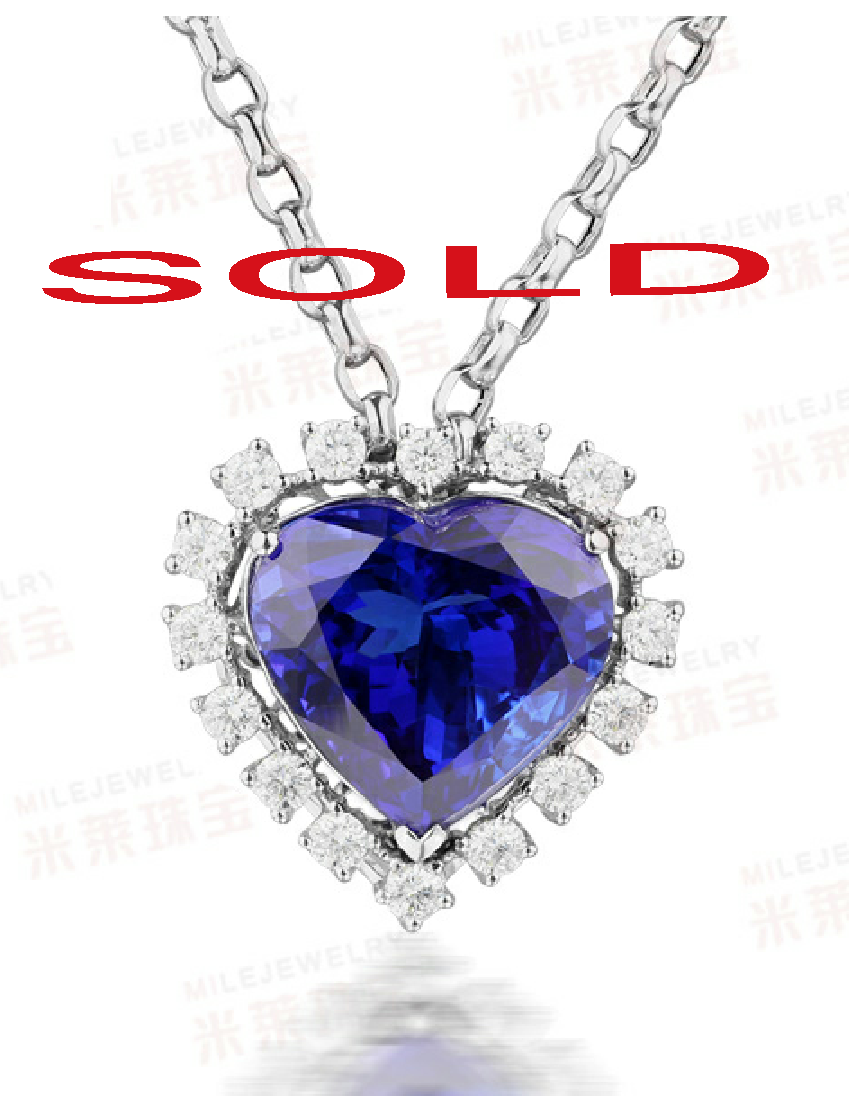 Tanzanite and Diamond Heart Pendant
