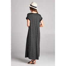 Striped Maxi Dress With Slit