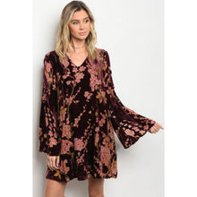velvet bell sleeve dress