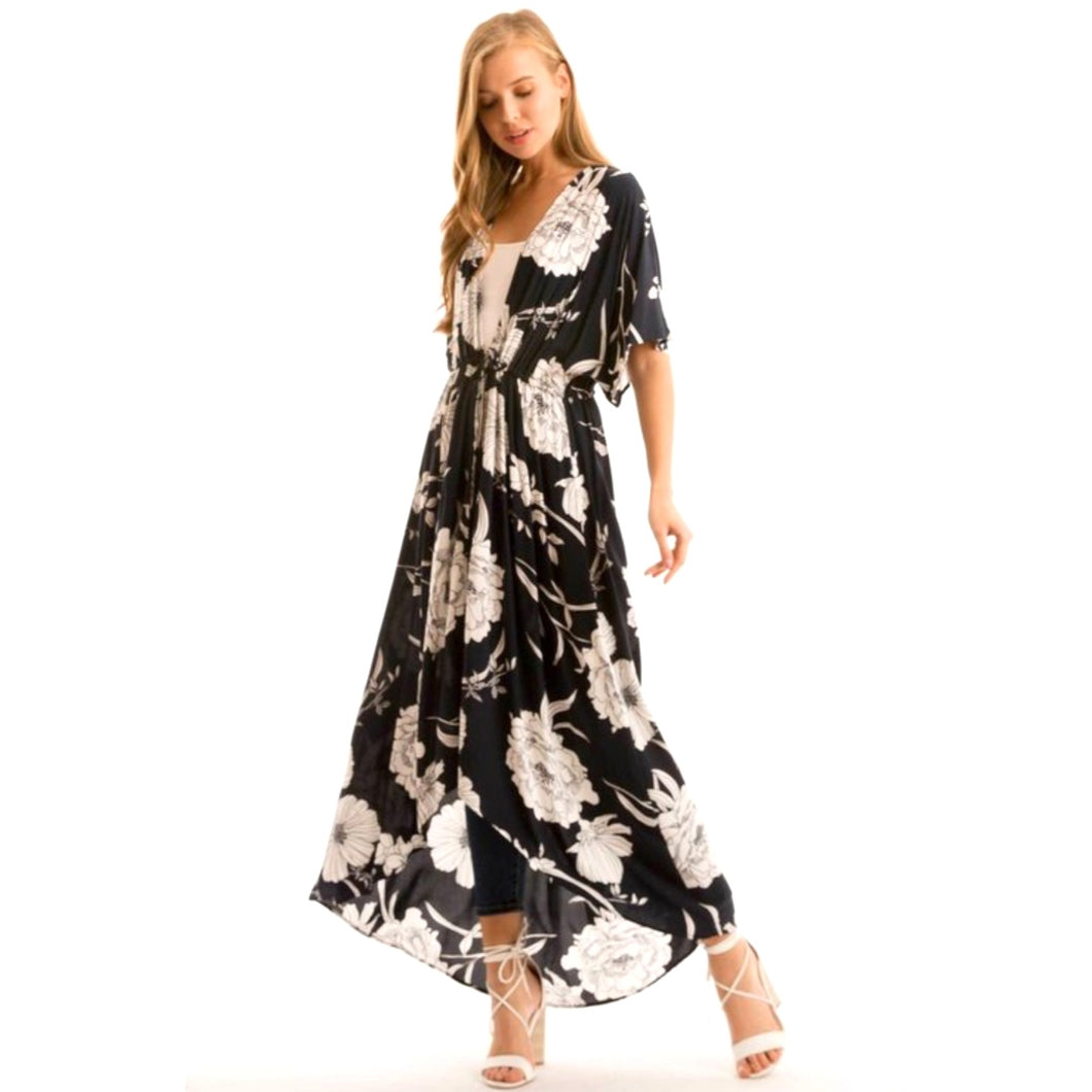 23d00f190 Tie Open Front Floral Maxi Kimono Dress Duster Navy White