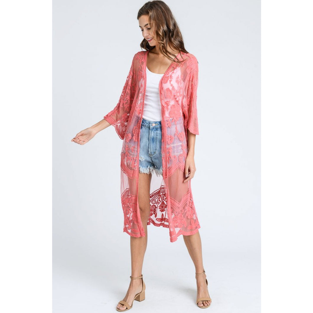 Long Lace Kimono Cardigan in Raspberry