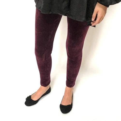 wine velvet leggings