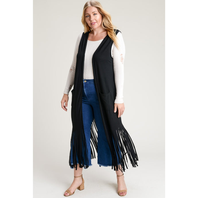 plus size long fringe vest