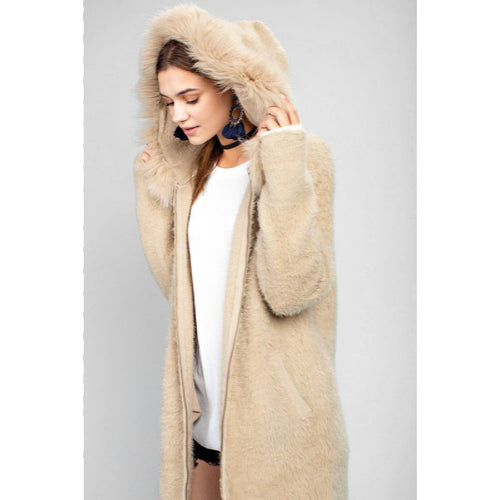 faux fur sweater coat