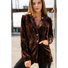 Stained Glass Velvet Blazer in Paisley Snake and Animal Print