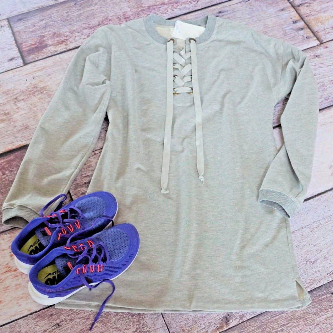 lace up sweatshirt dress