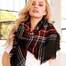 Plaid Blanket Scarf Shawl Wrap Black Combo