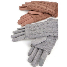 Grey Cable knit gloves