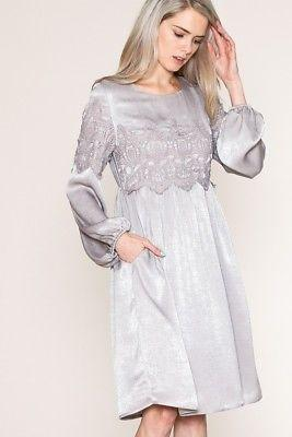 gray satin dress