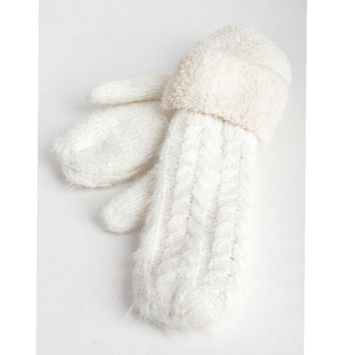 Cable Knit Faux Fur White Mittens