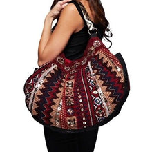 Beaded Embellished Dual Sided Tapestry Hobo Bag Red Mix