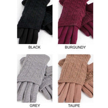 Burgundy Wine Cable knit gloves
