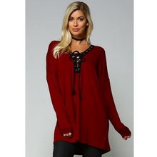 lace up tunic sweater