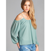 green cold shoulder top