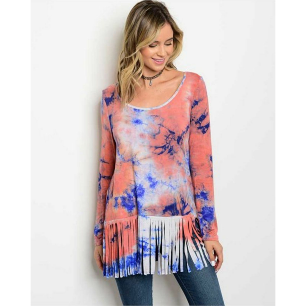 Long sleeve tie dye tunic