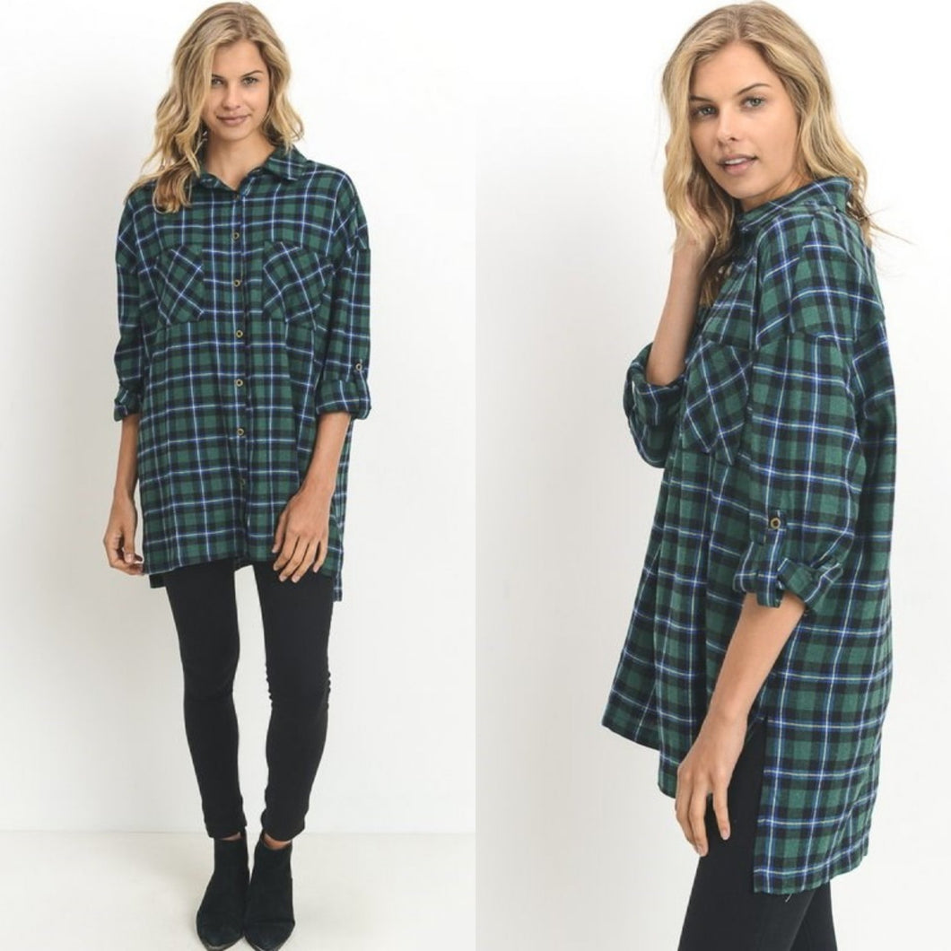 Green flannel tunic